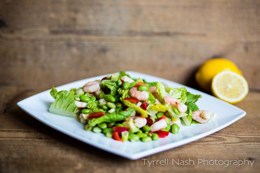 King prawn, avocado and edamame bean salad