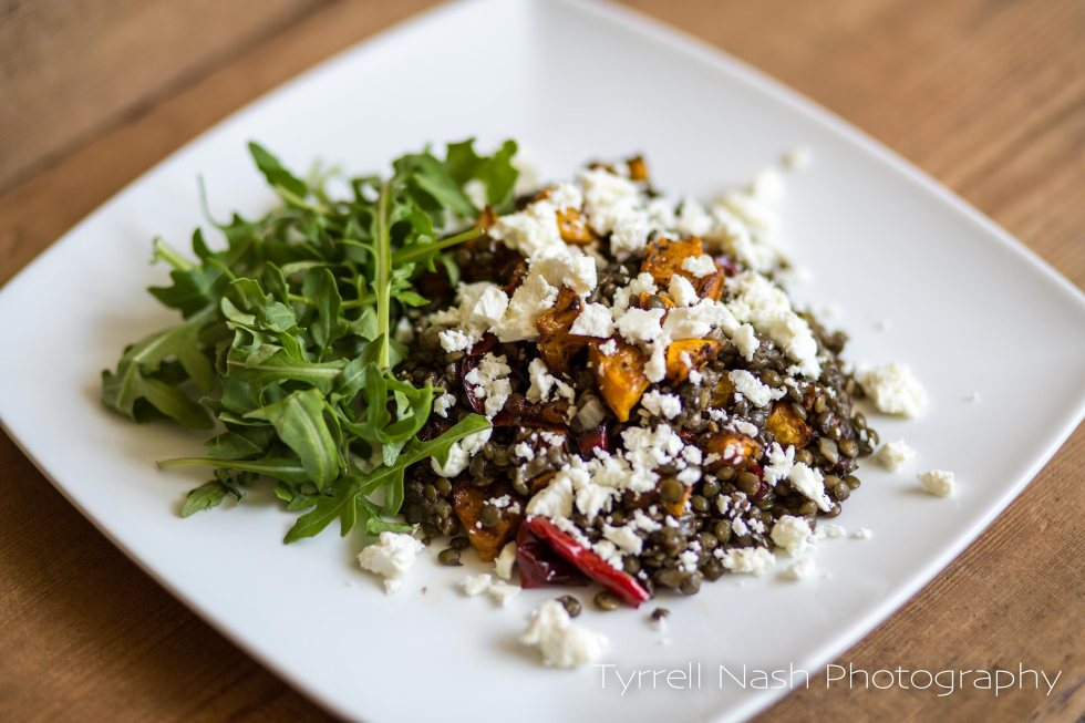 Puy lentils, butternut squash and feta cheese salad