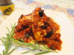 Cod with tomato and olive sauce