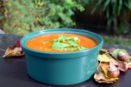 Chunky butternut squash, tomato and chickpea soup