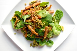 Spicy mung bean and roasted carrot salad