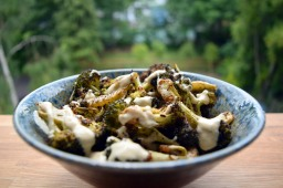 Roasted broccoli with tahini dressing