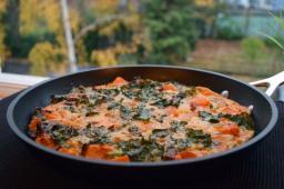 Kale, butternut squash, and sun-dried tomato frittata